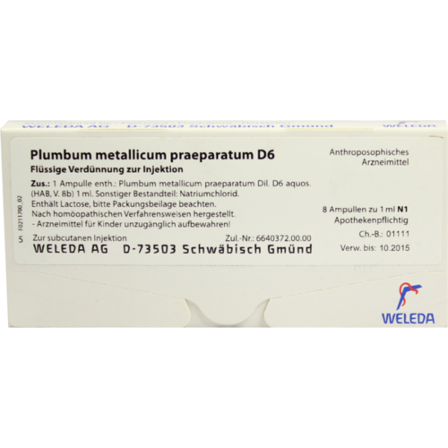 Verpackungsbild(Packshot) von PLUMBUM METALLICUM praep. D 6 Ampullen