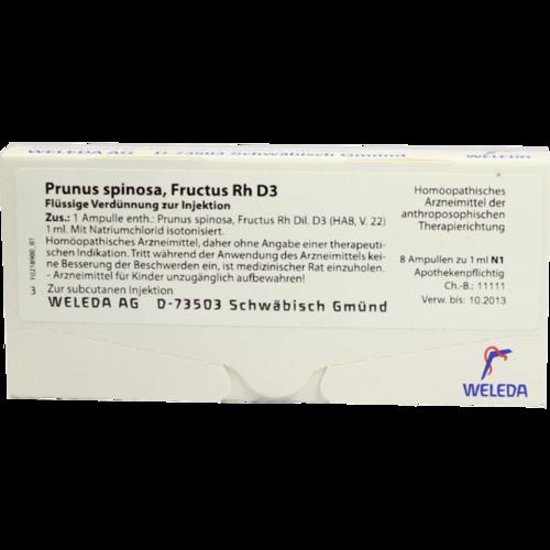 Verpackungsbild(Packshot) von PRUNUS SPINOSA FRUCTUS Rh D 3 Ampullen