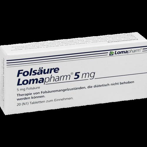 Verpackungsbild(Packshot) von FOLSÄURE LOMAPHARM 5 mg Tabletten