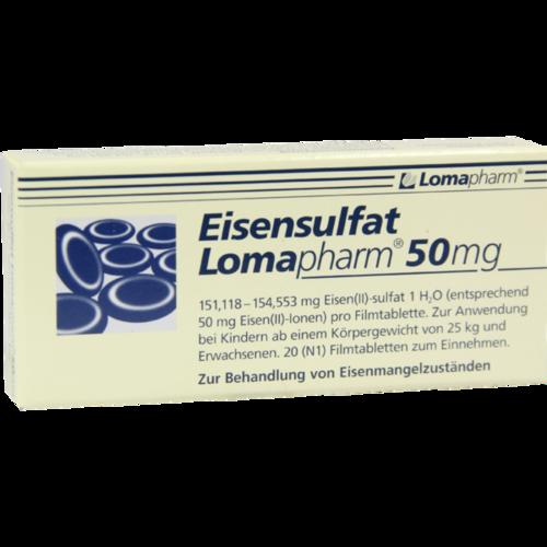 Verpackungsbild(Packshot) von EISENSULFAT Lomapharm 50 mg Filmtabletten