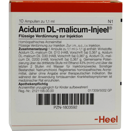 Verpackungsbild(Packshot) von ACIDUM DL-malicum Injeel Ampullen