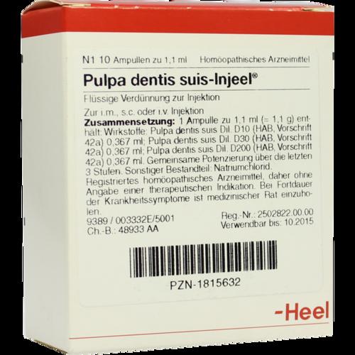 Verpackungsbild(Packshot) von PULPA DENTIS SUIS Injeel Ampullen
