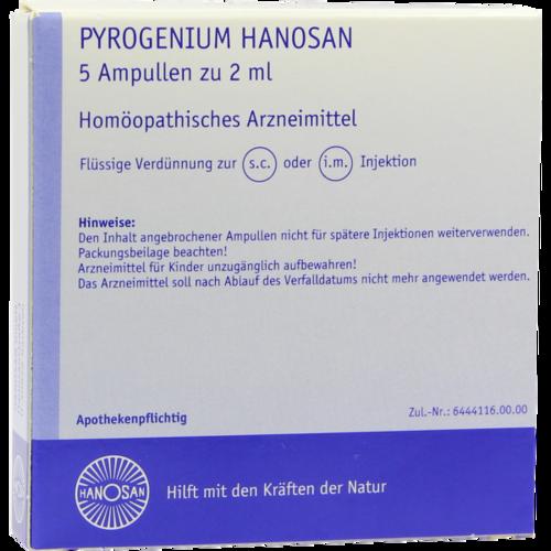 Verpackungsbild(Packshot) von PYROGENIUM HANOSAN Injektionslösung