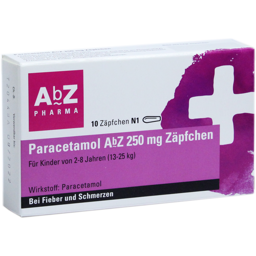 Verpackungsbild(Packshot) von PARACETAMOL AbZ 250 mg Zäpfchen