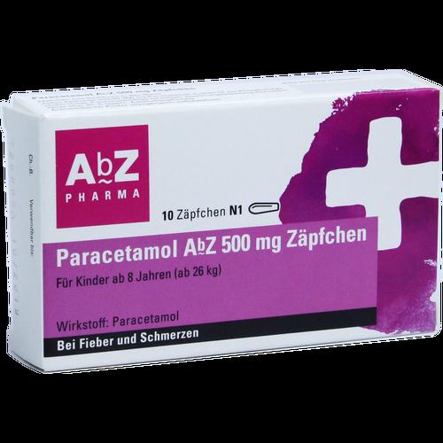 Verpackungsbild(Packshot) von PARACETAMOL AbZ 500 mg Zäpfchen