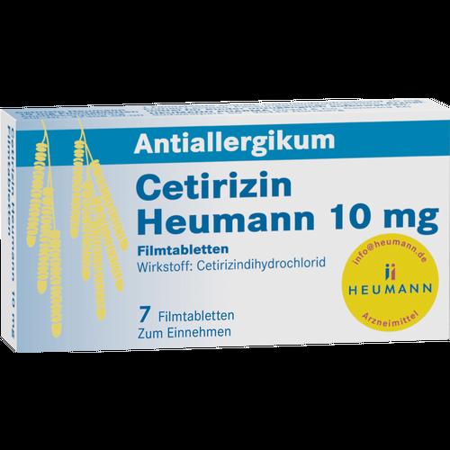 Verpackungsbild(Packshot) von CETIRIZIN Heumann 10 mg Filmtabletten