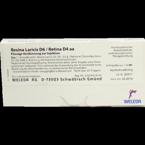 Verpackungsbild(Packshot) von RESINA LARICIS D 6/Retina D 4 aa Ampullen