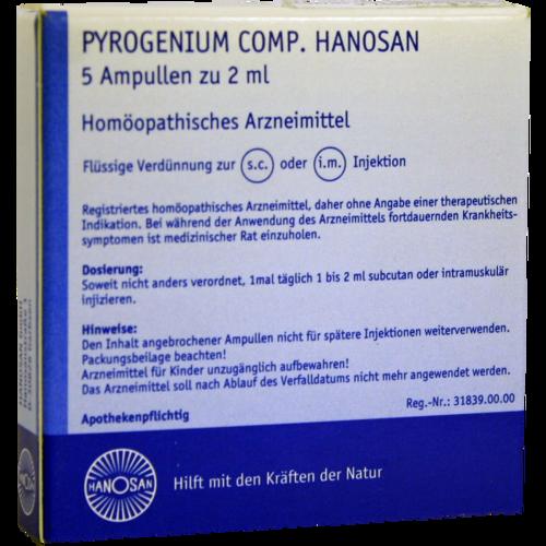 Verpackungsbild(Packshot) von PYROGENIUM COMP.Hanosan Ampullen