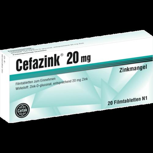 Verpackungsbild(Packshot) von CEFAZINK 20 mg Filmtabletten
