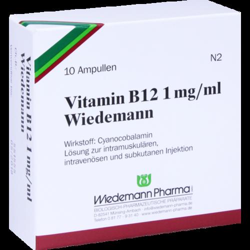 Verpackungsbild(Packshot) von VITAMIN B12 WIEDEMANN 1 mg/ml Injektionslsg.Amp.