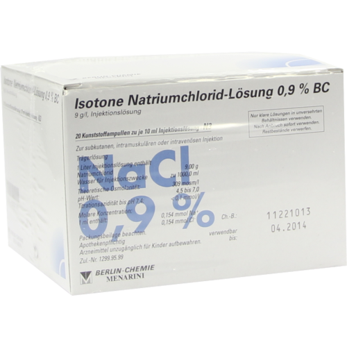 Verpackungsbild(Packshot) von ISOTONE NaCl Lösung 0,9% BC Plast.Amp.Inj.-Lsg.