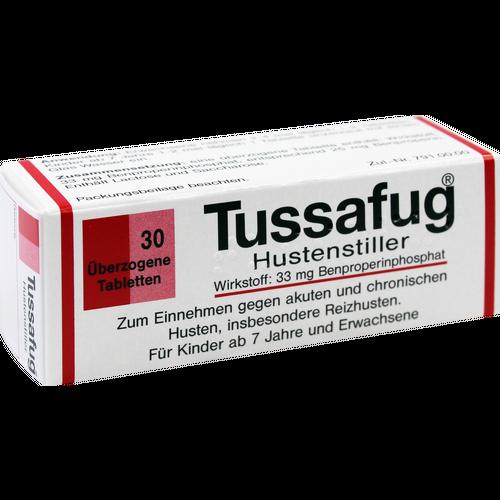 Verpackungsbild(Packshot) von TUSSAFUG überzogene Tabletten