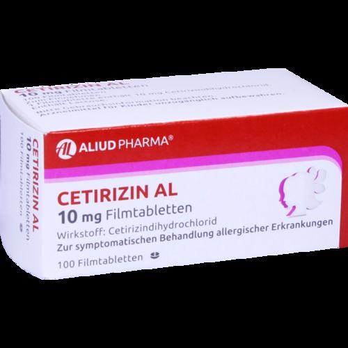 Verpackungsbild(Packshot) von CETIRIZIN AL 10 mg Filmtabletten