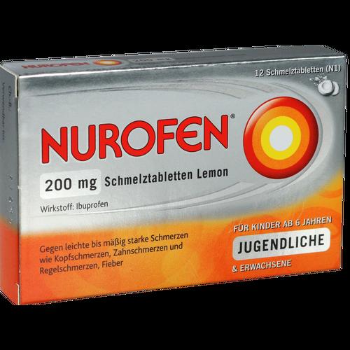 Verpackungsbild(Packshot) von NUROFEN 200 mg Schmelztabletten Lemon