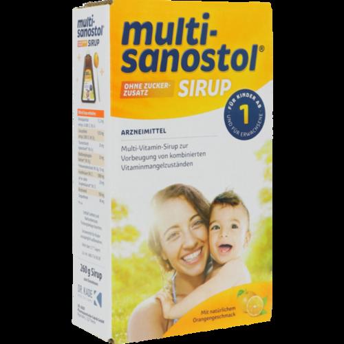 Verpackungsbild(Packshot) von MULTI SANOSTOL Sirup ohne Zuckerzusatz