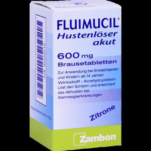 Verpackungsbild(Packshot) von FLUIMUCIL Hustenlöser akut 600 Brausetabletten