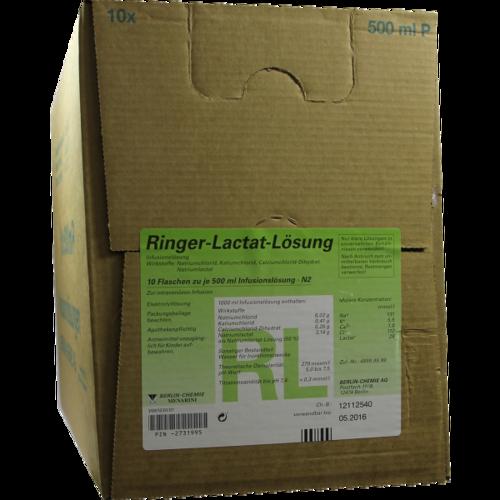 Verpackungsbild(Packshot) von RINGER LACTAT Plastik Infusionslösung