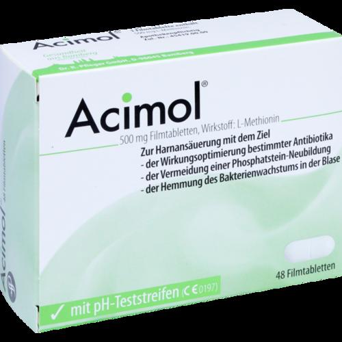 Verpackungsbild(Packshot) von ACIMOL mit pH Teststreifen Filmtabletten