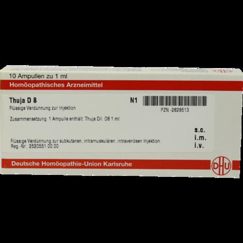 Verpackungsbild(Packshot) von THUJA D 8 Ampullen