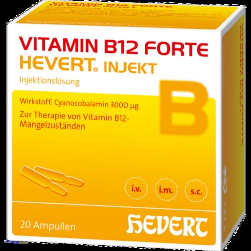 Verpackungsbild(Packshot) von VITAMIN B12 HEVERT forte Injekt Ampullen