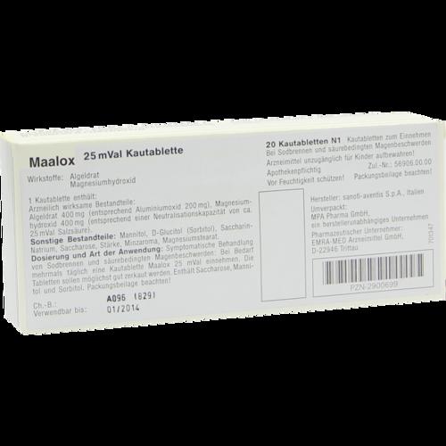 Verpackungsbild(Packshot) von MAALOX 25 mVal Kautabletten