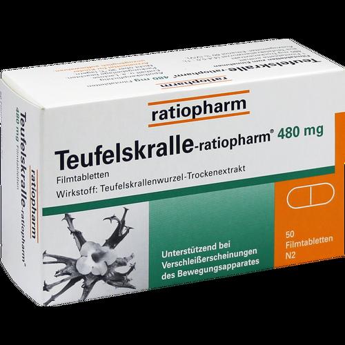 Verpackungsbild(Packshot) von TEUFELSKRALLE-RATIOPHARM Filmtabletten