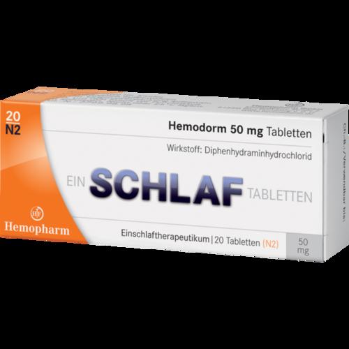 Verpackungsbild(Packshot) von HEMODORM 50 mg Einschlaftabletten