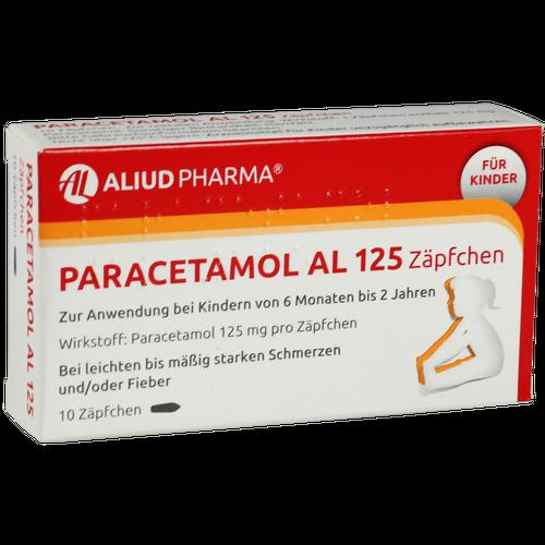 Verpackungsbild(Packshot) von PARACETAMOL AL 125 Säuglings-Suppos.