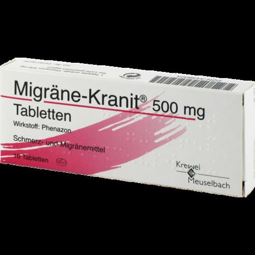 Verpackungsbild(Packshot) von MIGRÄNE KRANIT 500 mg Tabletten