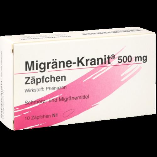 Verpackungsbild(Packshot) von MIGRÄNE KRANIT 500 mg Zäpfchen