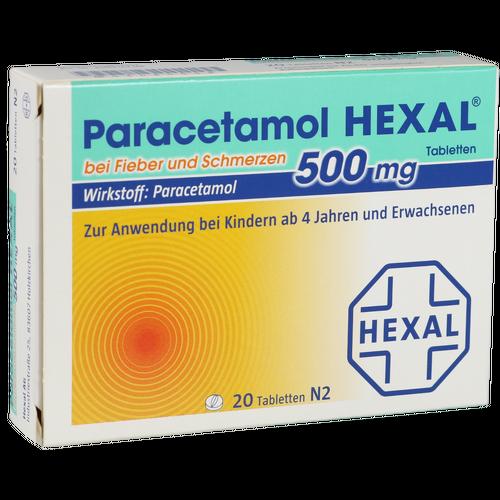 Verpackungsbild(Packshot) von PARACETAMOL 500 mg HEXAL b.Fieber u.Schmerzen Tab.