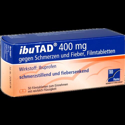 Verpackungsbild(Packshot) von IBUTAD 400 mg gegen Schmerzen und Fieber Filmtabl.