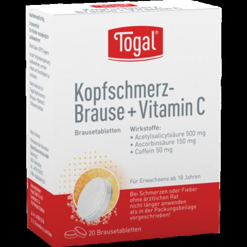 Verpackungsbild(Packshot) von TOGAL Kopfschmerz-Brause + Vit.C Brausetabletten