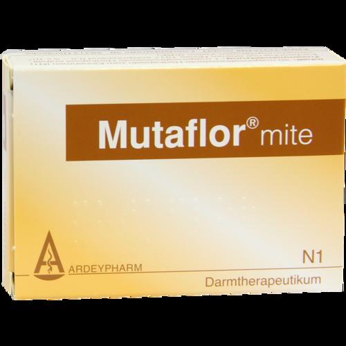 Verpackungsbild(Packshot) von MUTAFLOR mite magensaftresistente Hartkapseln
