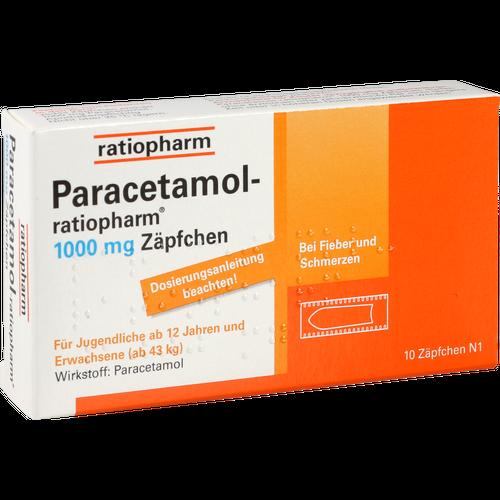 Verpackungsbild(Packshot) von PARACETAMOL-ratiopharm 1.000 mg Zäpfchen