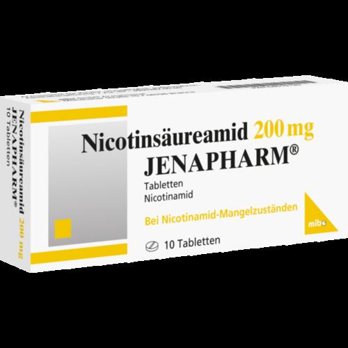 Verpackungsbild(Packshot) von NICOTINSÄUREAMID 200 mg Jenapharm Tabletten