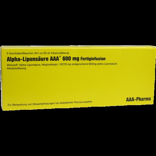 Verpackungsbild(Packshot) von ALPHA LIPONSÄURE AAA 600 mg Injektionsflaschen