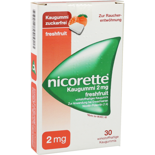 Verpackungsbild(Packshot) von NICORETTE 2 mg freshfruit Kaugummi