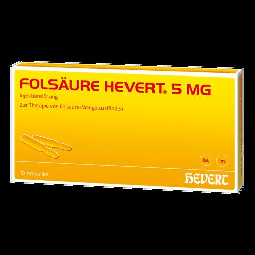 Verpackungsbild(Packshot) von FOLSÄURE HEVERT 5 mg Ampullen