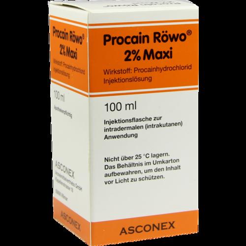Verpackungsbild(Packshot) von PROCAIN Röwo 2% Maxi Injektionsflaschen