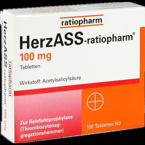 Verpackungsbild(Packshot) von HERZASS-ratiopharm 100 mg Tabletten