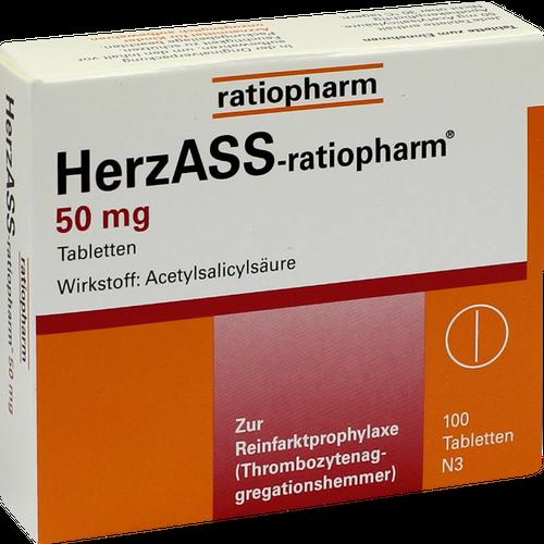 Verpackungsbild(Packshot) von HERZASS-ratiopharm 50 mg Tabletten