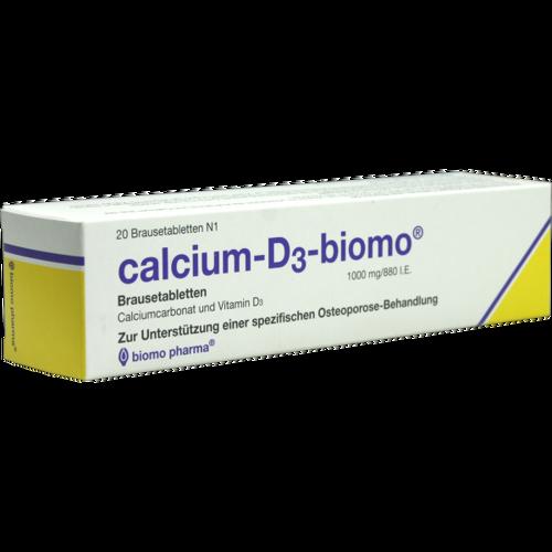 Verpackungsbild(Packshot) von CALCIUM-D3-biomo 1000 mg/880 I.E. Brausetabletten