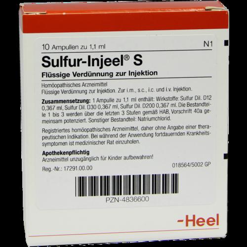 Verpackungsbild(Packshot) von SULFUR INJEEL S Ampullen