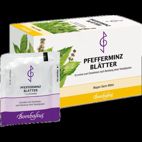 Verpackungsbild(Packshot) von PFEFFERMINZBLÄTTER Tee Filterbeutel