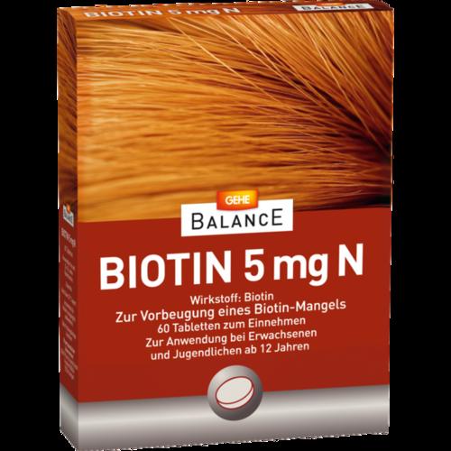 Verpackungsbild(Packshot) von GEHE BALANCE Biotin 5 mg N Tabletten