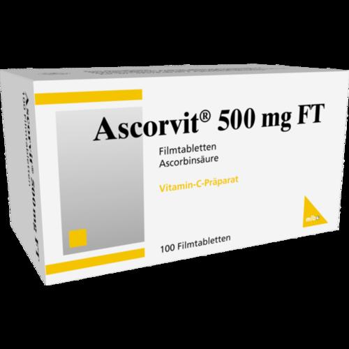 Verpackungsbild(Packshot) von ASCORVIT 500 mg FT Filmtabletten