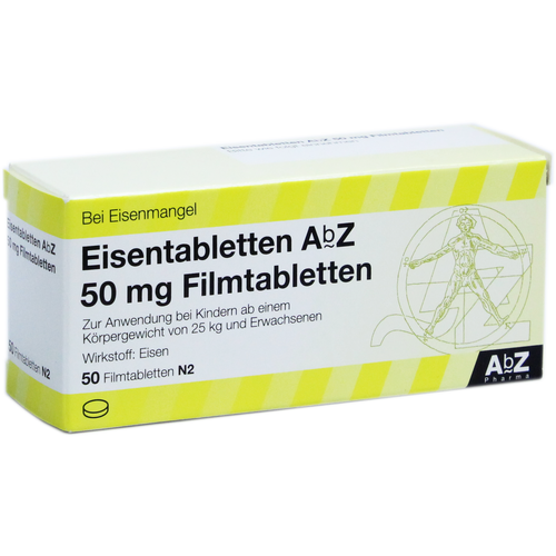Verpackungsbild(Packshot) von EISENTABLETTEN AbZ 50 mg Filmtabletten