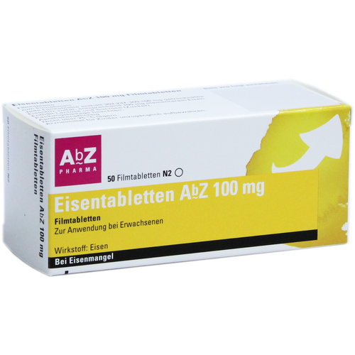 Verpackungsbild(Packshot) von EISENTABLETTEN AbZ 100 mg Filmtabletten