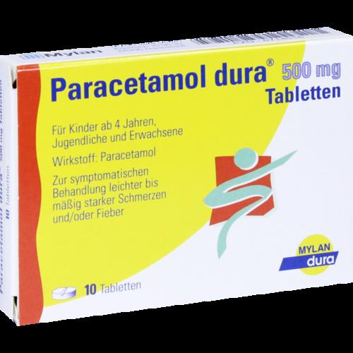 Verpackungsbild(Packshot) von PARACETAMOL dura 500 mg Tabletten